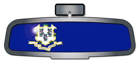 rear view: A vehicle rear view mirror with the flag of the state of Connecticut Illustration