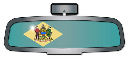 rear view mirror: A vehicle rear view mirror with the flag of the state of Delaware