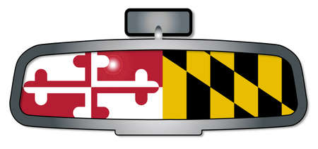rear view mirror: A vehicle rear view mirror with the flag of the state of Maryland