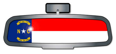 rear view mirror: A vehicle rear view mirror with the flag of the state of North Carolina Illustration