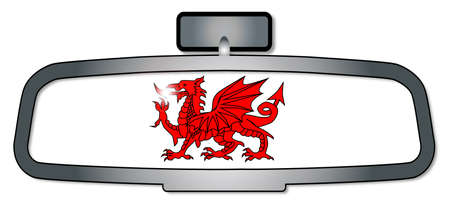 rear view: A vehicle rear view mirror with the red dragon of Wales