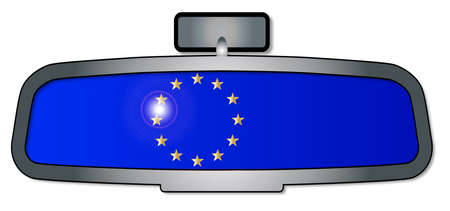 rear view mirror: A vehicle rear view mirror with the flag of the EU
