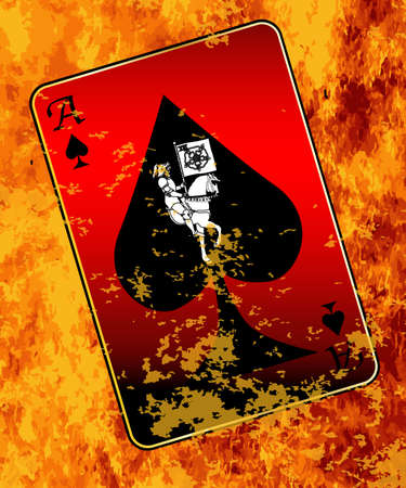 spades: The Ace of Spades burning in flames with chared edges