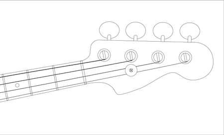 frets: Aisl� un clavijero de la guitarra baja gen�rico sobre un fondo blanco. Vectores