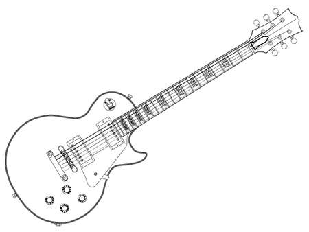 The definitive rock and roll guitar in outline isolated over a white background. Ilustração
