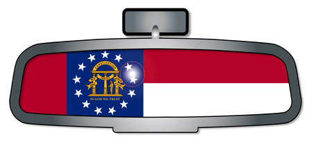 rear view mirror: A vehicle rear view mirror with the flag of the state of Georgia Illustration