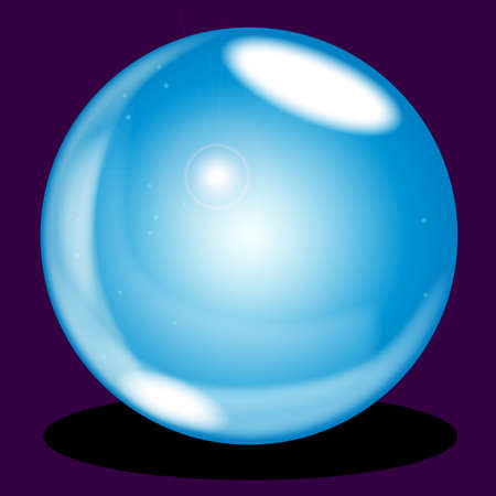 A crystal ball over a purple background