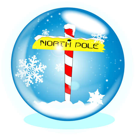 north pole sign: A crystal ball over a winter scene background with a North Pole sign