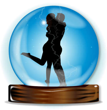 A crystal ball with lovers over over a white background