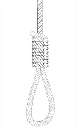 execution: Sketch of a hangman noose over a white background Illustration