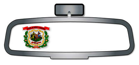 rear view mirror: A vehicle rear view mirror with the flag of the state of West Virginia