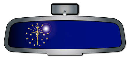 reversing: A vehicle rear view mirror with the flag of the state of Indiana Illustration