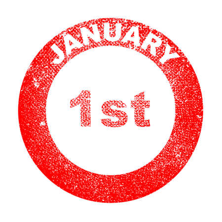 january 1st: A January 1st red in stamp over a white background Illustration