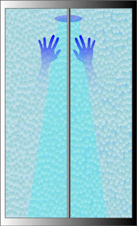 A shower screen with the a pair of hands on the glass Illustration