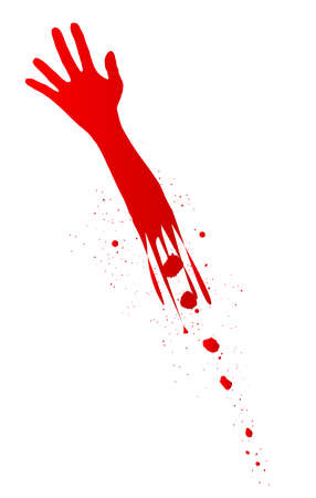 A severed arm in red with blood splatter on a white background