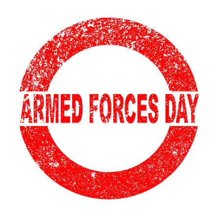 armed: Armed Forces Day red in stamp over a white background