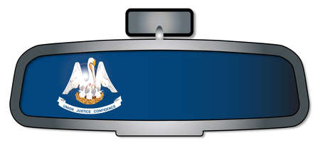 rear view mirror: A vehicle rear view mirror with the flag of the state of Louisiana