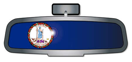 rear view mirror: A vehicle rear view mirror with the flag of the state of Virginia