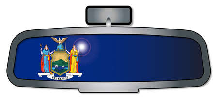 A vehicle rear view mirror with the flag of the state of New York