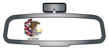 reversing: A vehicle rear view mirror with the flag of the state of Illinois