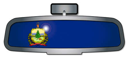 rear view mirror: A vehicle rear view mirror with the flag of the state of Vermont
