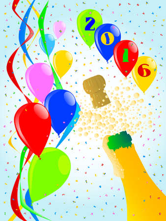 popping cork: Multi coloured balloons, confetti and streamers, a party image.