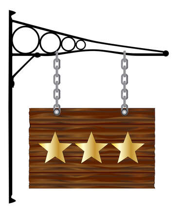 bracket: A rectangle wooden sign hanging from a wall bracket woth 3 gold stars Illustration