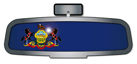 A vehicle rear view mirror with the flag of the state of Pennsylvania