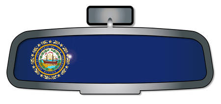 rear view mirror: A vehicle rear view mirror with the flag of the state of New Hampshire