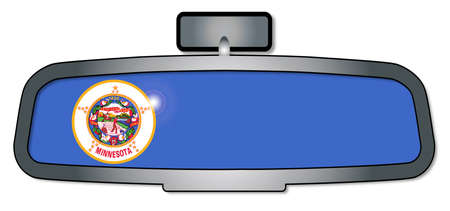rear view mirror: A vehicle rear view mirror with the flag of the state of Minnesota
