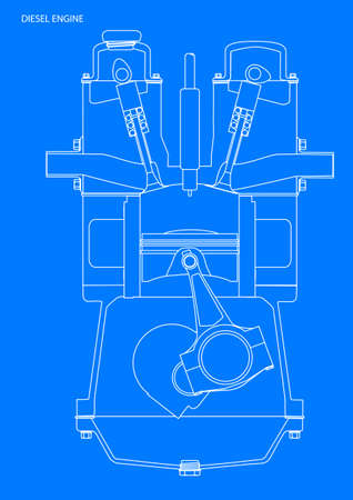 injector: A diesel engine blue print in white line on blue
