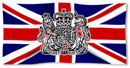 union jack flag: Union Jack flag of the United Kingdom with lion seal over white
