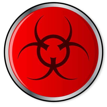 bio hazard: A large red bio hazard emergency stop button over a white background