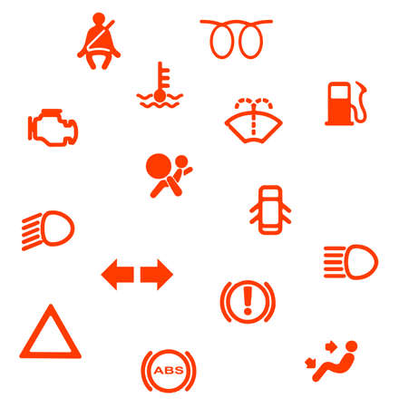 A collection of automobile dash warning light symbols
