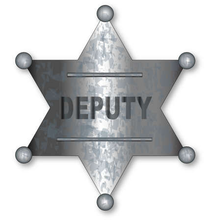 tarnished: A US wild west sheriff badge with the text deputy Illustration
