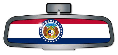 rear view mirror: A vehicle rear view mirror with the flag of the state of Missouri Illustration