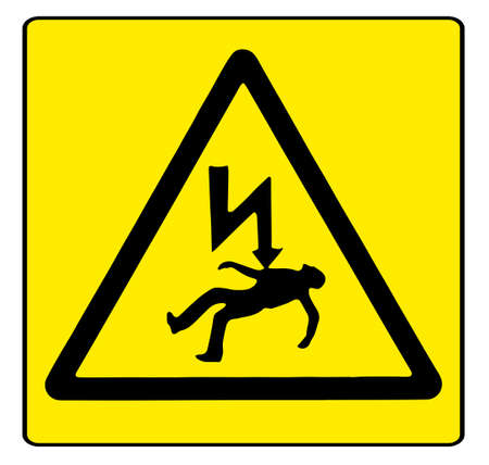 Electric shock warning sigh over a white background
