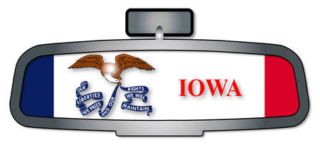 rear view: A vehicle rear view mirror with the flag of the state of Iowa