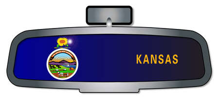 rear view mirror: A vehicle rear view mirror with the flag of the state of Kansas