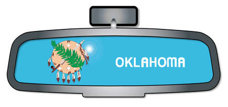 rear view mirror: A vehicle rear view mirror with the flag of the state of Oklahoma Illustration
