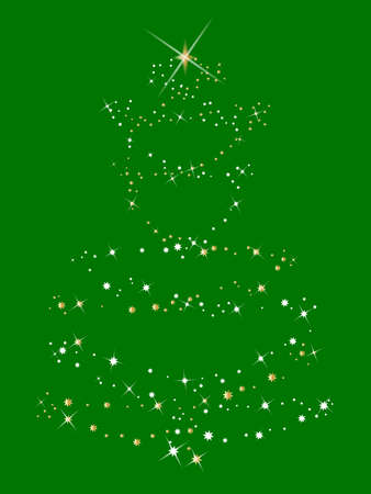 comprising: A christmas tree comprising of sparkles and stars over a green background Illustration