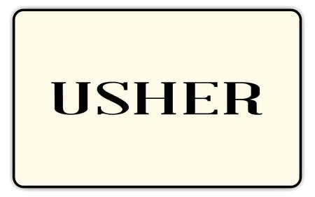 acomodador: Insignia de Usher con el texto sobre un fondo blanco