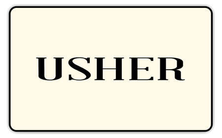 usher: Usher badge with text over a white background