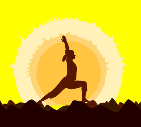 yoga sunset: Yoga poses performed by a young woman in silhouette set against a yellow sunset.