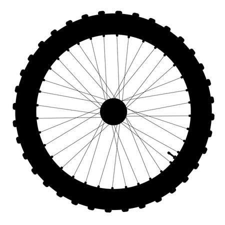 nipples: A knobly tyre on a bicycle wheel with valve and spoke nipples in silhouette