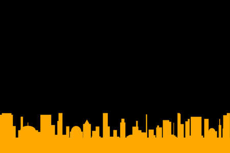 An orange cityscape silhouette set against a black background Illustration