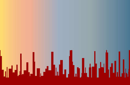 urban sprawl: A cityscape in brown silhouette with a morning sky as the background Illustration