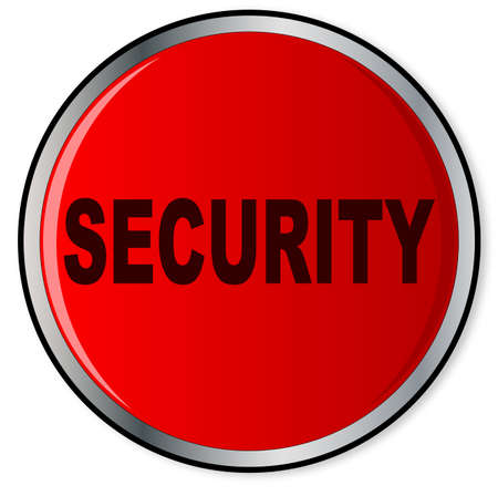 panic button: A large red security panic button over a white background