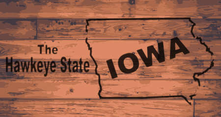 Iowa state map brand on wooden boards with map outline and state moto Illustration