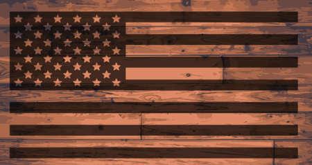 branded: American Flag branded onto wooden planks